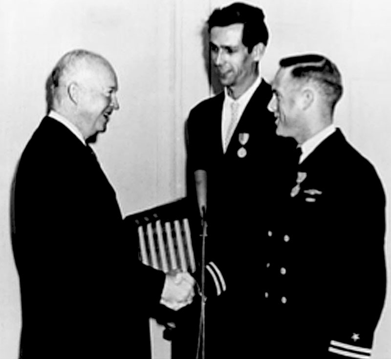 President-Eisenhower-Capt-Don-Walsh-Jacques-Piccard